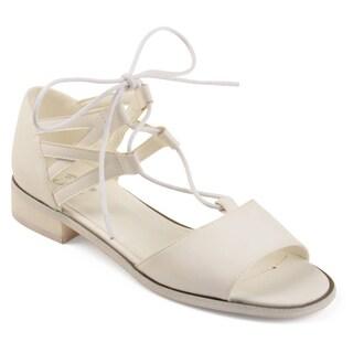 Journee Collection Women's 'Ingrid' Crisscross Lace-up Faux Nubuck Sandals