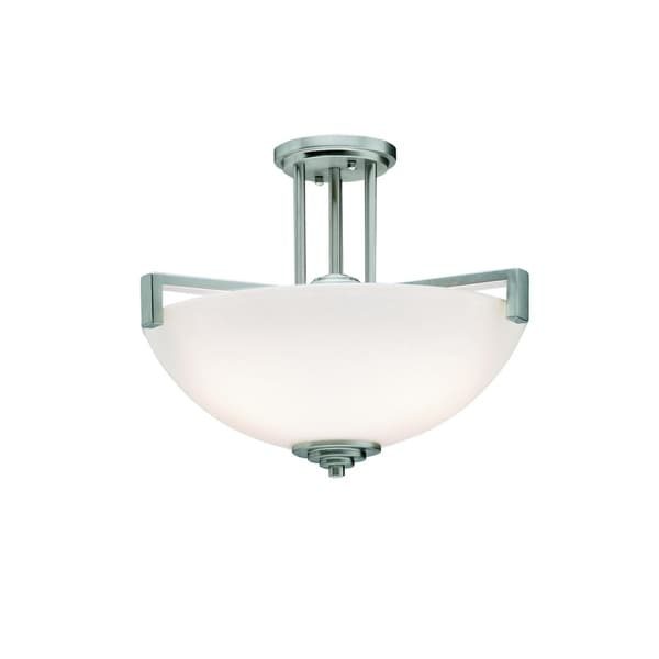 Kichler Lighting Eileen Collection 3-light Brushed Nickel LED Pendant/Semi-Flush Mount - Brushed nickel