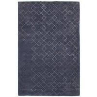 eCarpetGallery Hand-Tufted Trellis Grey  Wool,  Art Silk Rug (5'0 x 8'0)