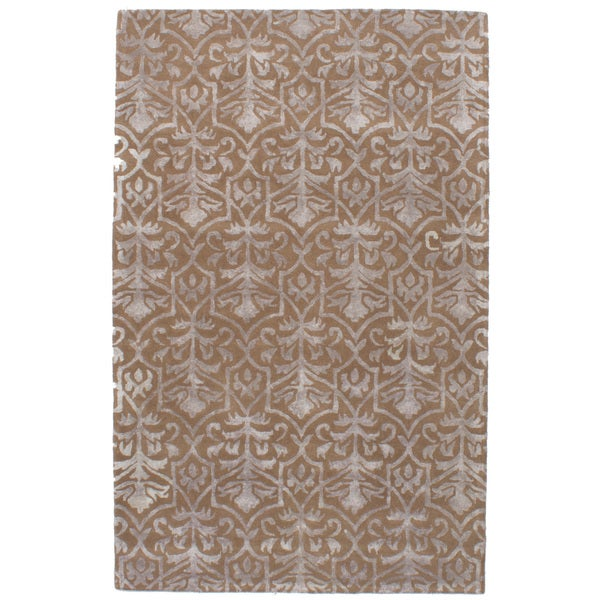 eCarpetGallery Hand-Tufted Abstract Art Brown Wool, Art Silk Rug (5'0 x 8'0)