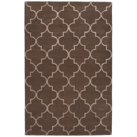 eCarpetGallery Hand-Tufted Trellis Wool Art Silk Rug