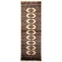 Handmade Herat Oriental Pakistani Hand-Knotted Tribal Bokhara Wool Runner - 2'8 x 7'1