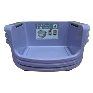 3 Pack Small Stacking Tub Purple