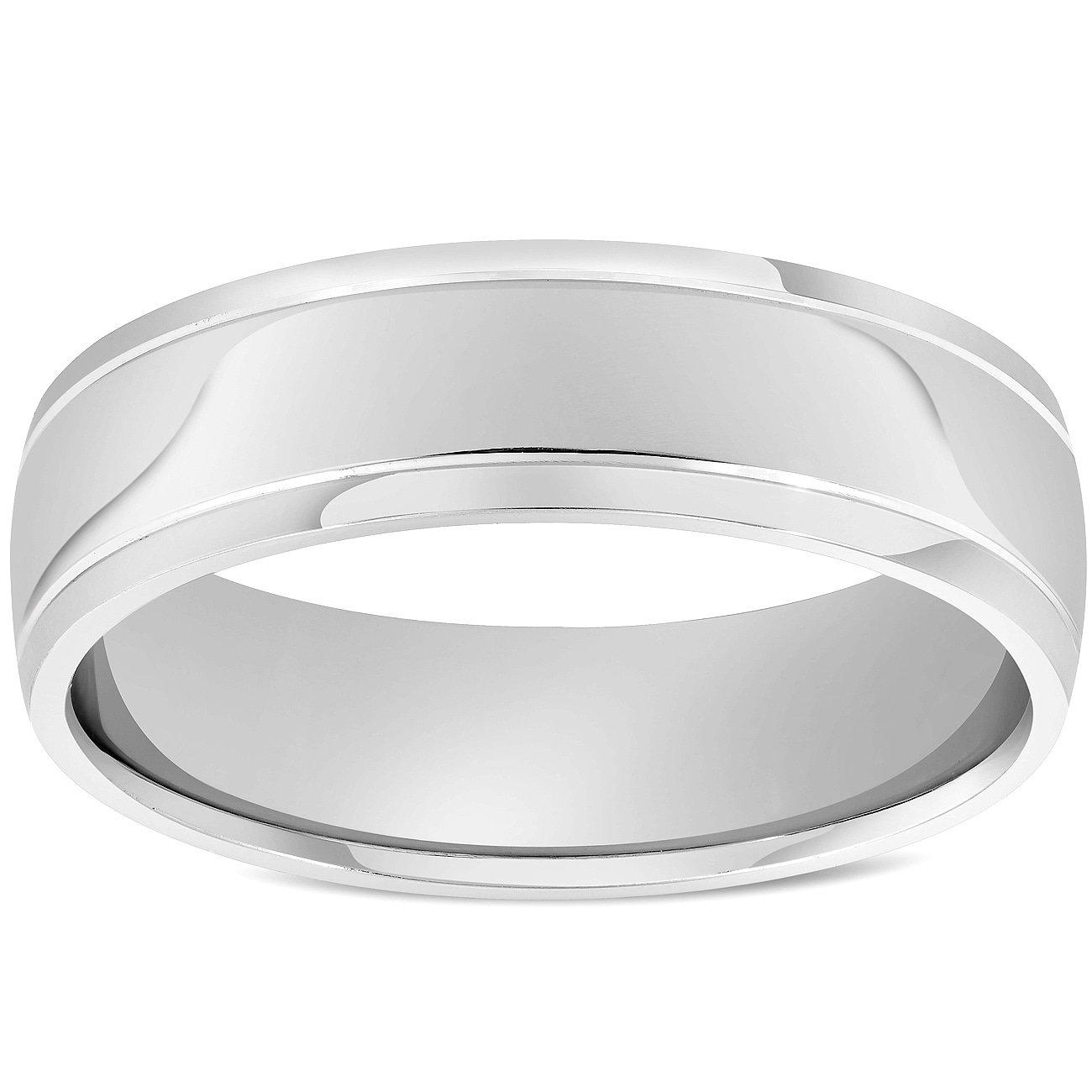 14k White Gold Dome Childrens Bangle with a Polished Finish