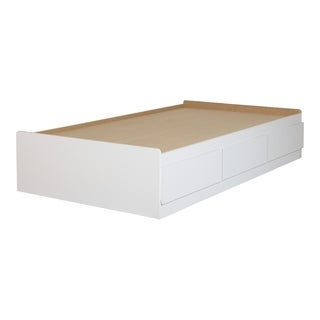 """South Shore Sweedi Twin Mates Bed (39"""") with 3 Drawers, Pure White"""