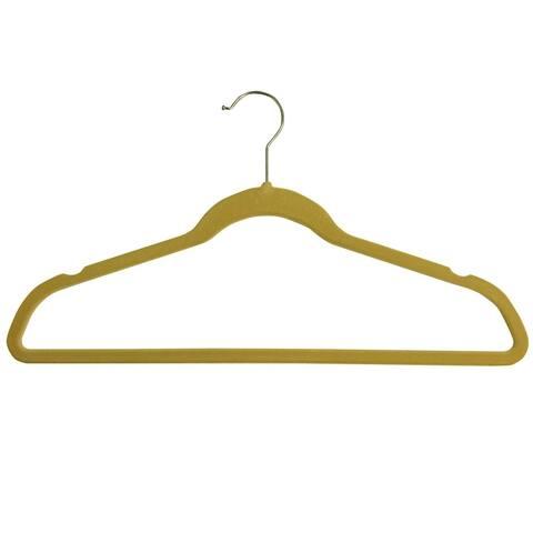 Sweet Home Collection Flocked Velvet Non-Slip Hangers (25 Pack) Camel