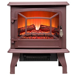 "AKDY FP0079 17"" Freestanding Portable Electric Fireplace 2 Settings Brown Red 3D Flames w/ Logs Heater"