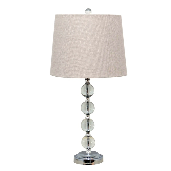 "Catalina Lighting Hayley 26-Inch Dimmable Stacked Ball Table Lamp with White Linen Shade, 19356-002 Clear - 13.00"" x 13""x 26"""