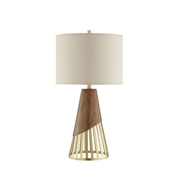 Catalina Lighting Antique Gold Finish Faux Wood 17-inch Pax Table Lamp
