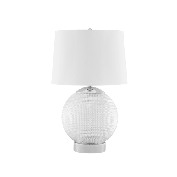 Catalina Lighting Ophelia Polished Nickel Finish Glass 18-inch Table Lamp