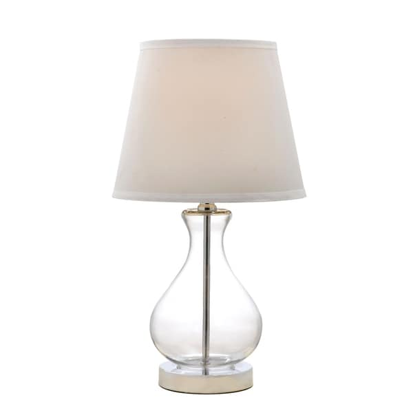 "Catalina Lighting Rylan 18-Inch Teardrop Glass Table Lamp with White Fabric Shade, 19896-001 Clear - 10"" x 10""x 18"""