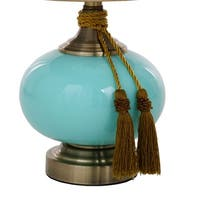 "Catalina Lighting Lexi Painted Glass Table Lamp with Tassels - 11"" x 11"" x 19"""