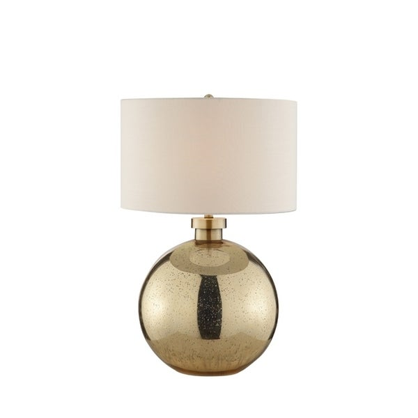 Catalina Lighting 20611-001 Mila Rose Goldtone Linen Glass Table Lamp