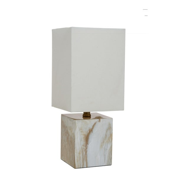 "Catalina Lighting Blake Faux Marble Mosiac Accent Table Lamp - 7"" x 7"" x 15"""