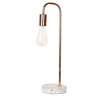Porch & Den Roosevelt Row Linden Rose Gold and Faux Marble 19-Inch Desk Lamp - rose gold