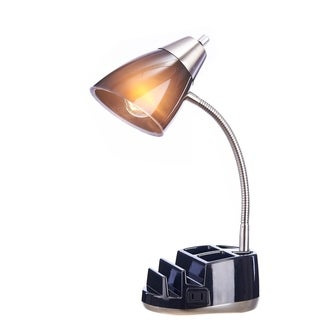 Catalina Lighting Greystone 19.5-Inch Clear Organizer Desk Lamp in a Brushed Steel Dual Shade with Power Outlet, 20106-007 Grey