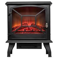 "AKDY FP0081 20"" Black Freestanding Portable Electric Fireplace 3D Flames Firebox w/ Logs Heater"