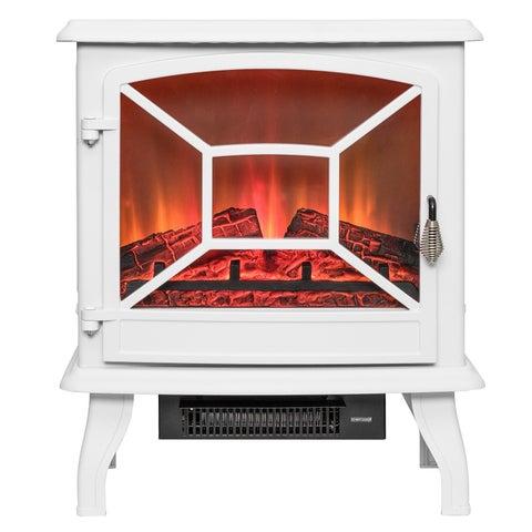 "AKDY FP0083 20"" White Freestanding Portable Electric Fireplace Firebox Flames w/ Logs Heater"