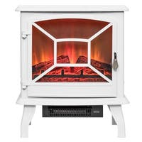 "AKDY FP0083 20"" White Freestanding Portable Electric Fireplace Firebox Flames w/ Logs Heater"