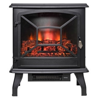 "AKDY FP0084 20"" Black Freestanding Electric Fireplace 3D Flames Firebox Logs Heater"