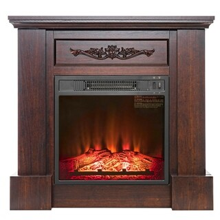 "AKDY FP0089 32"" Electric Fireplace Insert Brown Wooden Mantel Firebox 3D Flame w/ Logs Heater"