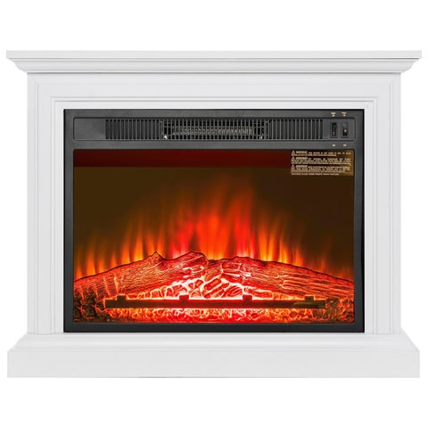 "AKDY FP0090 32"" Electric Fireplace Freestanding White Wooden Mantel Firebox 3D Flame w/ Logs Heater"