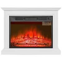 "AKDY FP0090 32"" Electric Fireplace Freestanding White Wooden Mantel Firebox 3D Flame w/ Logs Heater"