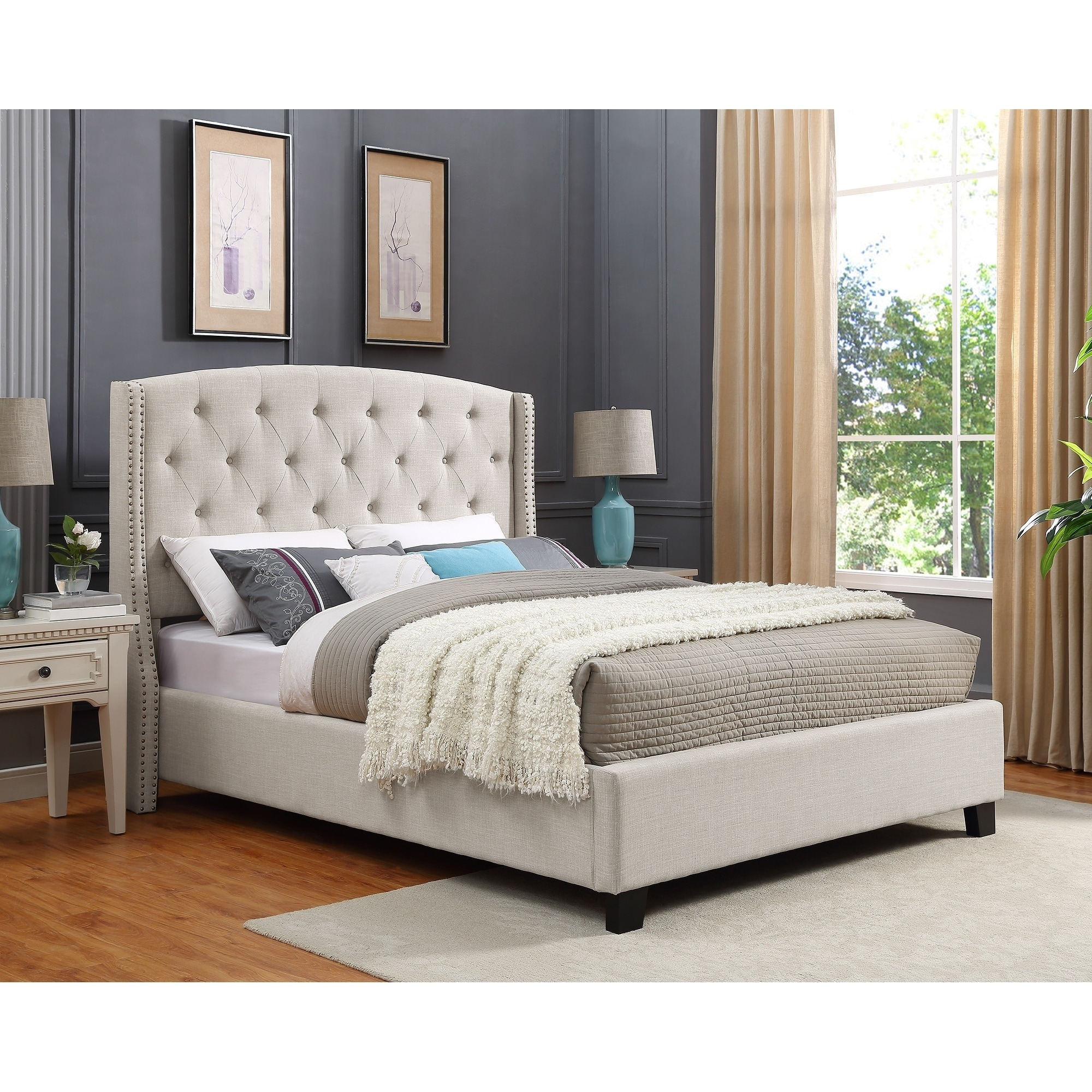 Nantarre Fabric Tufted Wingback Upholstered Bed With Nailhead Trim Tan Overstock 19835331