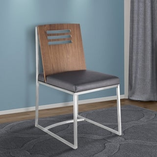 Link to Armen Living Oxford Dining Chair in Brushed Stainless Steel with Vintage Grey Faux Leather and Walnut Wood Back - Set of 2 Similar Items in Dining Room & Bar Furniture