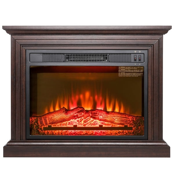 Shop Akdy Fp0091 32 Quot Electric Fireplace Freestanding Brown