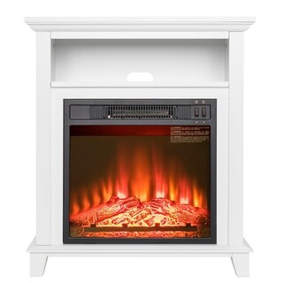 "AKDY FP0092 27"" Electric Fireplace Freestanding White Wooden Mantel Shelf Firebox 3D Flame w/ Logs Heater"
