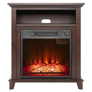 "AKDY FP0093 27"" Electric Fireplace Freestanding Brown Wooden Mantel Firebox 3D Flame w/ Logs Heater"