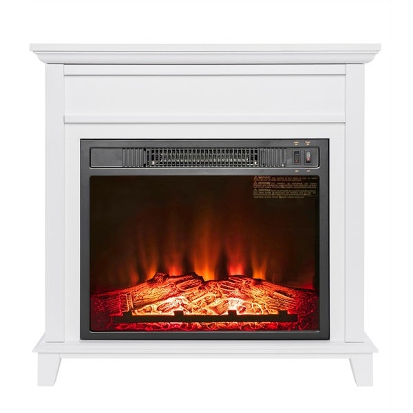 "AKDY FP0094 27"" Electric Fireplace Freestanding White Wooden Mantel Firebox 3D Flame w/ Logs Heater"