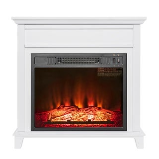"AKDY FP0094 27"" Electric Fireplace Freestanding White Wooden Mantel Firebox 3D Flame w/ Logs Heater"