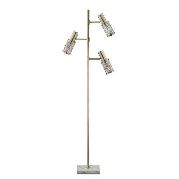 Catalina Lighting 20607-000 Dash Antique Brass Metal Faux Marble Floor Lamp