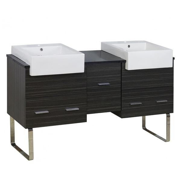 59.5-in. W 18-in. D Modern Plywood-Melamine Vanity Base Set Only In Dawn Grey