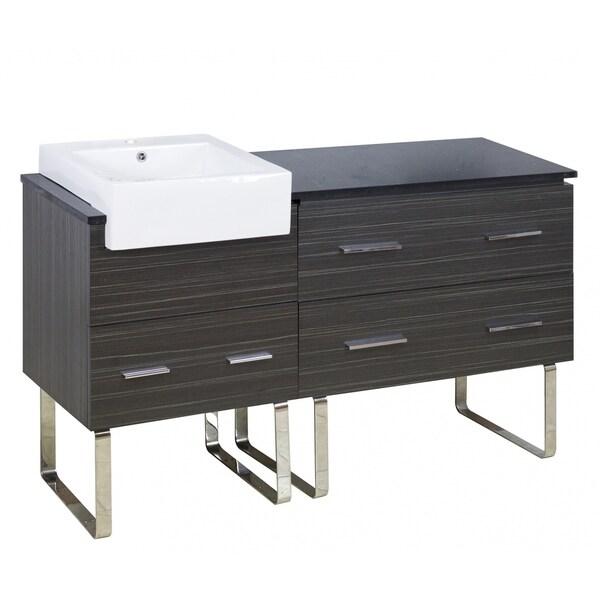 57.75-in. W 18-in. D Modern Plywood-Melamine Vanity Base Set Only In Dawn Grey