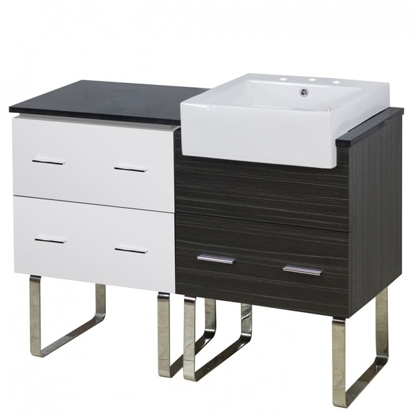 48.75-in. W Floor Mount White-Dawn Grey Vanity Set For 3H8-in. Drilling Black Galaxy Top