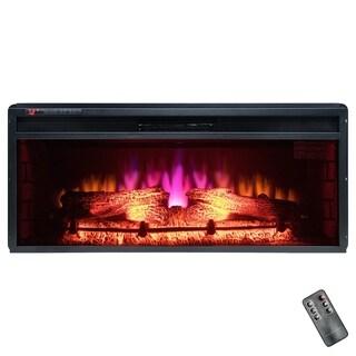 """Golden Vantage FP0062 36"""" Insert Freestanding Electric Fireplace 3D Flames Firebox w/ Logs Heater"""