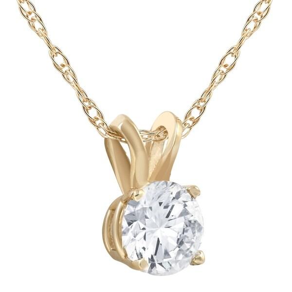 "14K YELLOW GOLD FINISH 1//2 CT ROUND DIAMOND SOLITAIRE BEZEL PENDANT 18/"" CHAIN"