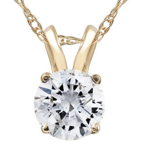 """Pompeii3 14k Yellow Gold 1/2 ct TDW Solitaire Diamond Pendant & 18"""" Chain - White I-J"""