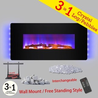 "Golden Vantage FP0065 3-in-1 36"" Electric Fireplace Wall Mount Freestanding Convertible Firebox 3D Flame Heater"