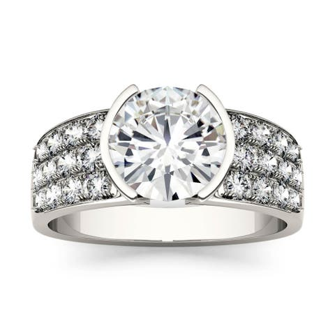 Charles & Colvard 14k White Gold 2 1/2ct DEW Forever One Near Colorless Moissanite Ring