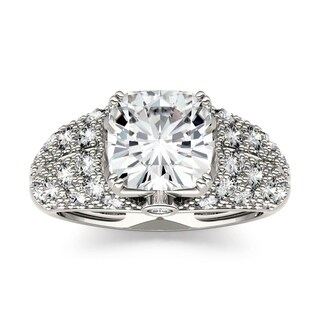 Charles & Colvard 14k White Gold 3 1/3ct DEW Forever One Near Colorless Moissanite Engagement Ring