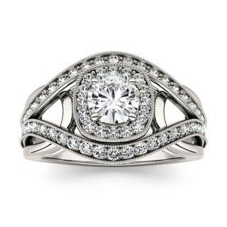 Charles & Colvard 14k White Gold 1 1/4ct DEW Forever One Near Colorless Moissanite Engagement Ring