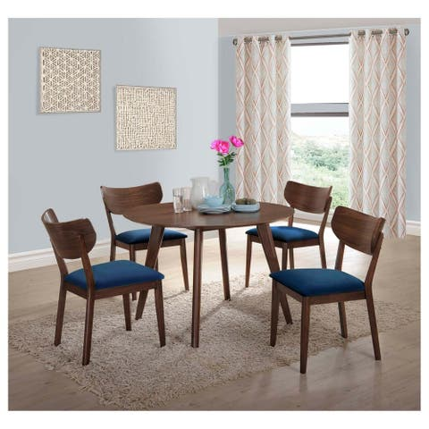 Carson Carrington Viby 5-piece Dining Set with Navy Blue Chairs