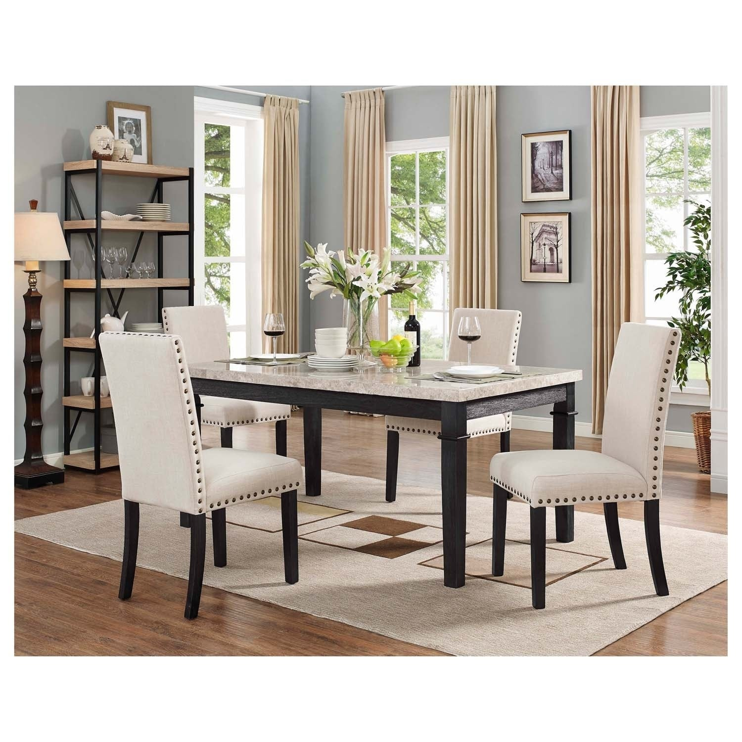 Picket House Furnishings Bradley 5pc Dining Set Table 4 Upholstered Chairs Overstock 19837119