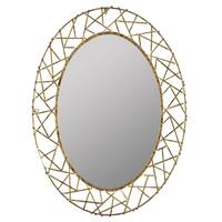 Oswald Gold Modern Oval Wall Mirror - N/A