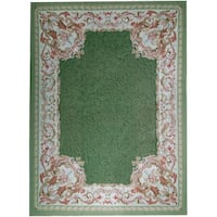 """Pasargad Green Aubusson Hand-Woven Wool Rug (9'10"""" X 14' 1"""")"""