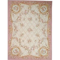 "Pasargad Aubusson Hand-Woven Ivory Wool Area Rug (9' 0"" X 12' 0"")"